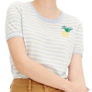 J. Crew Tippi Pineapple Stripe Shortsleeve Sweater